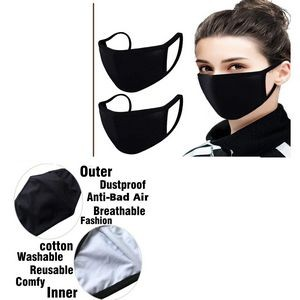 Black Cotton Mouth Mask